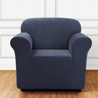 Ultimate Stretch Chenille Box Cushion Armchair Slipcover Color: Storm Blue