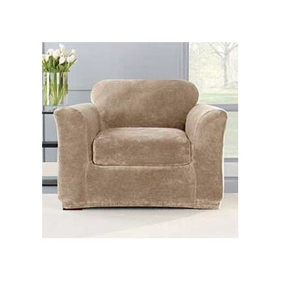 Stretch Plush Box Cushion Armchair Slipcover