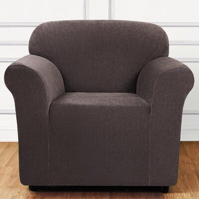 Ultimate Stretch Chenille Box Cushion Armchair Slipcover Color: Chocolate