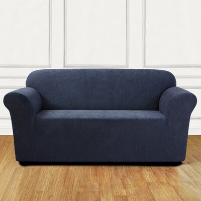 Ultimate Stretch Chenille Box Cushion Loveseat Slipcover Color: Storm Blue