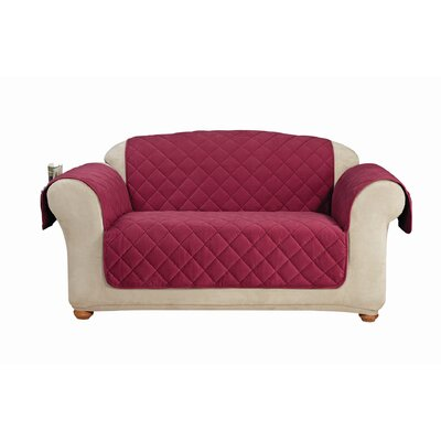 Comfort Loveseat T-Cushion Slipcover Color: Burgundy