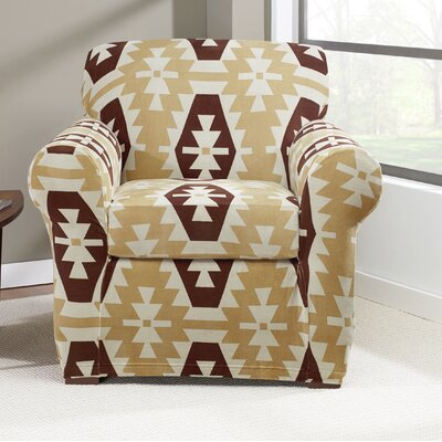 Stretch Kilim Two Piece Chair Slipcover Color: Chocolate
