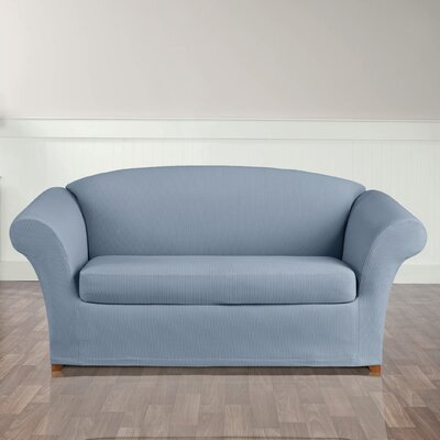 Stretch Seersucker Loveseat T-Cushion Seperate Seat Slipcover Color: Paradise Blue