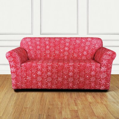 Stretch Snowflake Loveseat T-Cushion Slipcover Color: Red