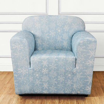 Stretch Snowflake Box Cushion Armchair Slipcover Color: Blue