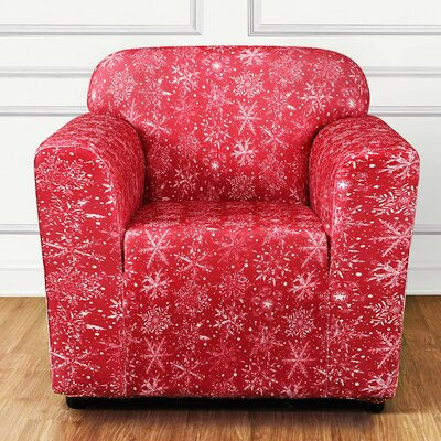Stretch Snowflake Box Cushion Armchair Slipcover Color: Red