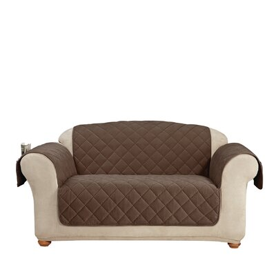 Comfort Loveseat T-Cushion Slipcover Color: Chocolate