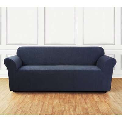Ultimate Stretch Chenille Box Cushion Sofa Slipcover Color: Storm Blue