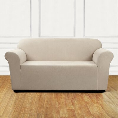Ultimate Stretch Chenille Box Cushion Loveseat Slipcover Color: Natural