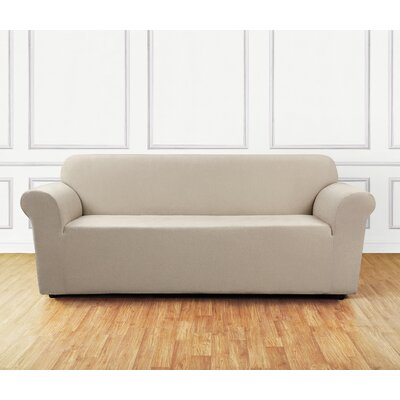 Ultimate Stretch Chenille Box Cushion Sofa Slipcover Color: Natural
