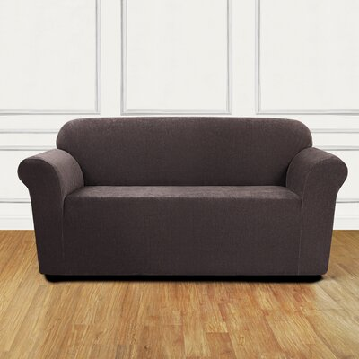 Ultimate Stretch Chenille Box Cushion Loveseat Slipcover Color: Chocolate