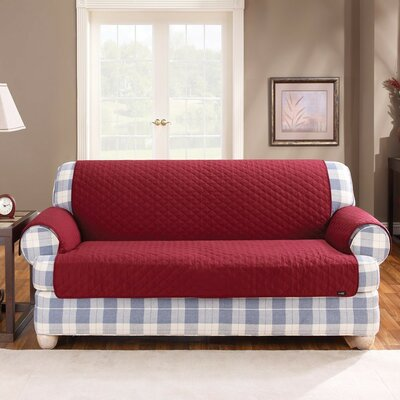 Cotton Duck T-Cushion Sofa Slipcover Upholstery: Claret