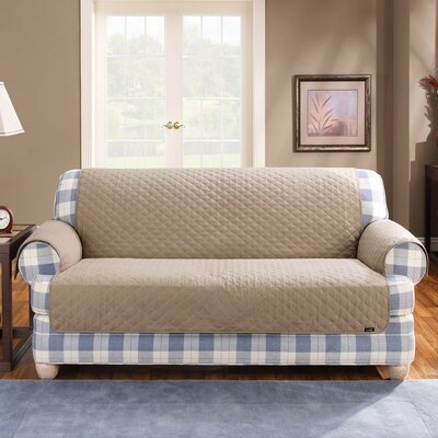 Cotton Duck T-Cushion Sofa Slipcover Upholstery: Linen