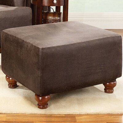 Stretch Leather Ottoman Slipcover Upholstery: Brown