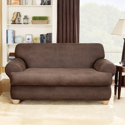 Stretch Leather Two Piece Loveseat T-Cushion Slipcover Upholstery: Brown