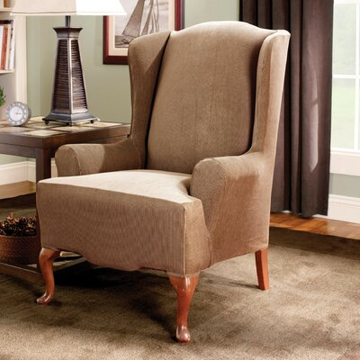 Stretch Stripe Wingback Chair T-Cushion Slipcover Upholstery: Brown
