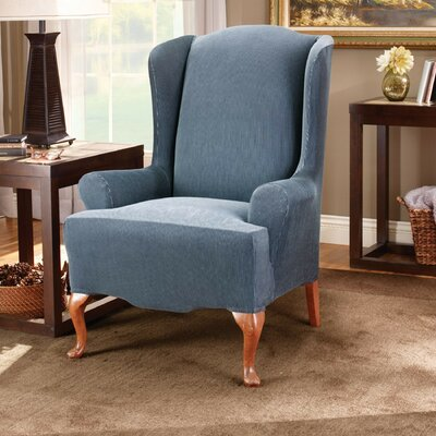 Stretch Stripe Wingback Chair T-Cushion Slipcover Upholstery: Navy