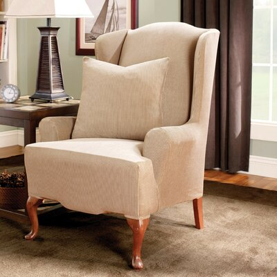 Stretch Stripe Wingback Chair T-Cushion Slipcover Upholstery: Sand