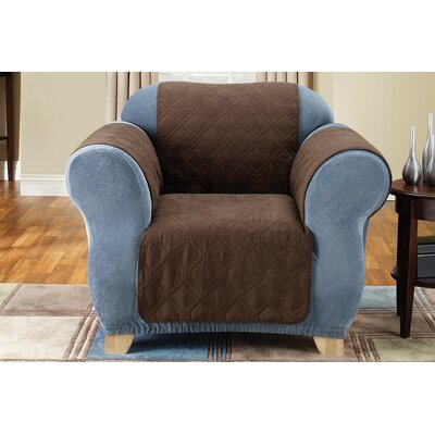 Soft Suede Box Cushion Armchair Slipcover Upholstery: Chocolate
