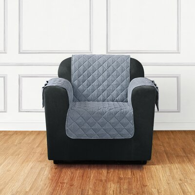Quilted Pet Box Cushion Armchair Slipcover Color: Gray