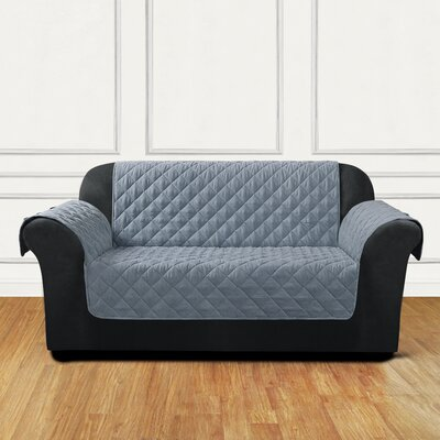 Quilted Pet Box Cushion Loveseat Slipcover Color: Gray