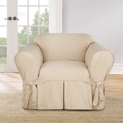 Strand Waverly Box Cushion Armchair Slipcover Color: Tan