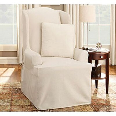 Cotton Duck Wing Chair T-Cushion Slipcover Upholstery: Natural