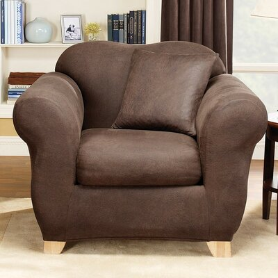 Stretch Leather Two Piece Armchair Slipcover Upholstery: Brown