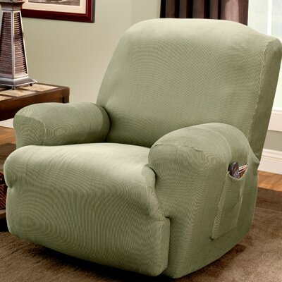 Stretch Stripe Recliner T-Cushion Slipcover Upholstery: Sage