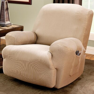Stretch Stripe Recliner T-Cushion Slipcover Upholstery: Sand
