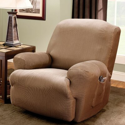 Stretch Stripe T-Cushion Recliner Slipcover Upholstery: Brown