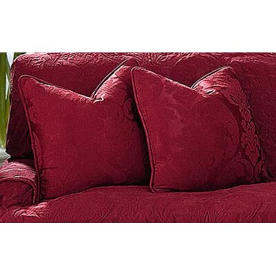 Matelasse Damask Pillow Box Cushion Slipcover Color: Chili