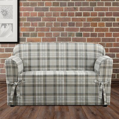 Highland Plaid Box Cushion Loveseat Slipcover Color: Gray