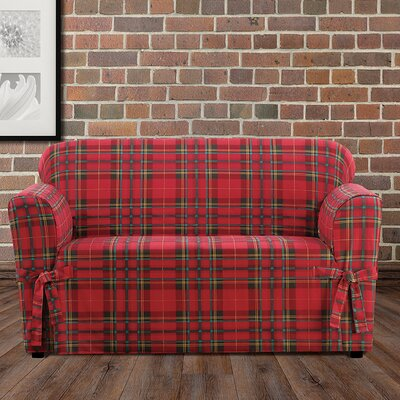 Highland Plaid Polyester Loveseat Slipcover Color: Red