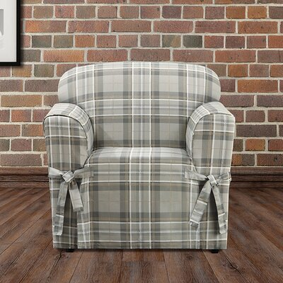 Highland Plaid Polyester Armchair Slipcover Color: Gray