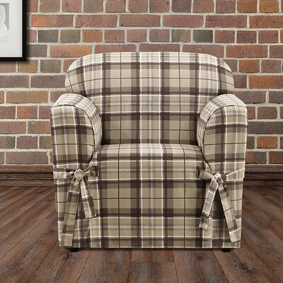 Highland Plaid Polyester Armchair Slipcover Color: Tan
