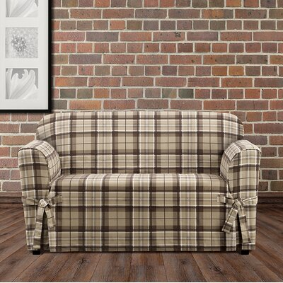 Highland Plaid Polyester Loveseat Slipcover Color: Tan