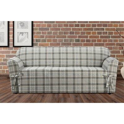 Highland Plaid Polyester Sofa Slipcover Color: Gray