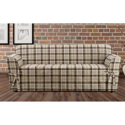 Highland Plaid Polyester Sofa Slipcover Color: Tan