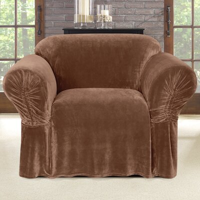 Stretch Plush Polyester Armchair Skirted Slipcover Color: Brown