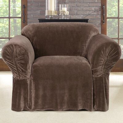 Stretch Plush Box Cushion Armchair Slipcover Color: Chocolate