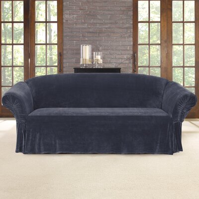 Stretch Plush Polyester Sofa Skirted Slipcover Color: Storm Blue