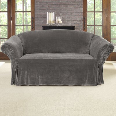 Stretch Plush Box Cushion Loveseat Slipcover Color: Gray