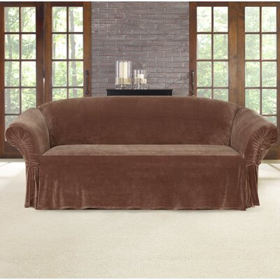 Stretch Plush Box Cushion Sofa Slipcover Color: Brown