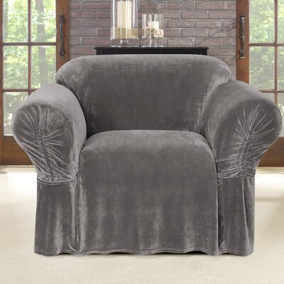 Stretch Plush Polyester Armchair Skirted Slipcover Color: Gray