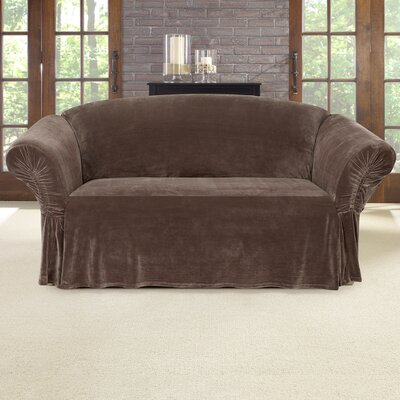 Stretch Plush Box Cushion Loveseat Slipcover Color: Chocolate