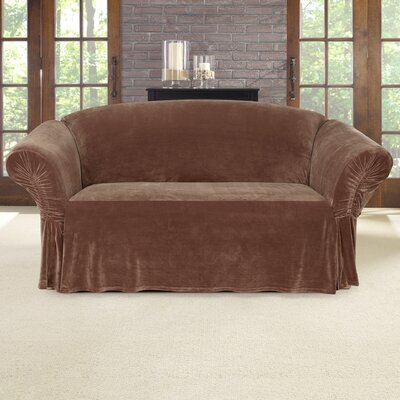 Stretch Plush Polyester Loveseat Skirted Slipcover Color: Brown