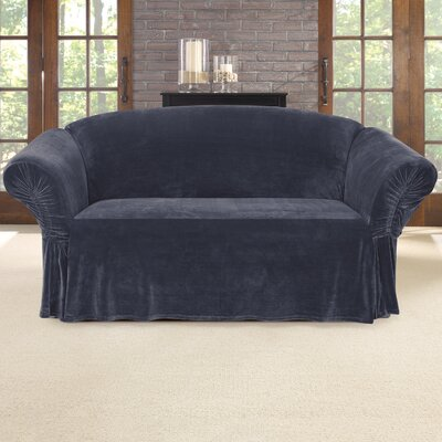 Stretch Plush Box Cushion Loveseat Slipcover Color: Storm Blue