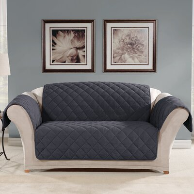 Box Cushion Loveseat Slipcover Color: Storm Blue
