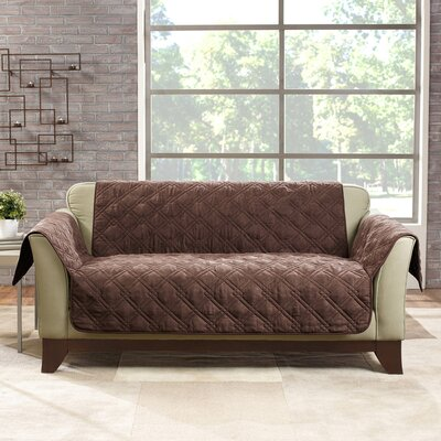 Deluxe Box Cushion Loveseat Slipcover Color: Chocolate